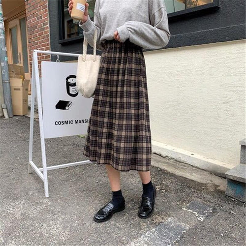 Vintage Warm Woolen Midi Long Pleated Plaid Skirts SP15463