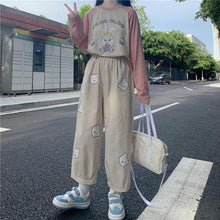Load image into Gallery viewer, Vitality Girl Cute Bear Printing High Waist Casual Trousers SP15503