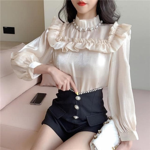 Elegant  Palace Style Turtleneck Ruffled Doll Shirt+High Waist Shorts Suits SS0931