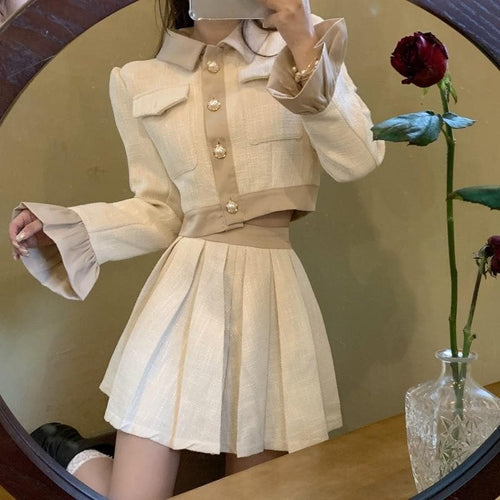 Retro  Ruffle Sleeve Short Jacket+Pleated SkirtSS0946