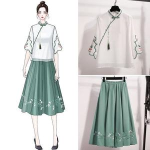 Traditional Ancient Style Blouse Embroidery Tops Skirt Suit SS0963