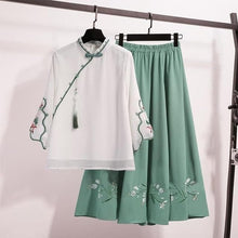 Load image into Gallery viewer, Traditional Ancient Style Blouse Embroidery Tops Skirt Suit SS0963