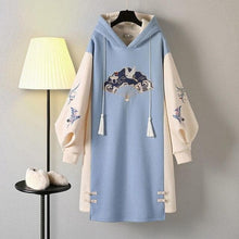 Load image into Gallery viewer, Retro Cute Print Hooded High-necked Sweatshirt Dress SP15677