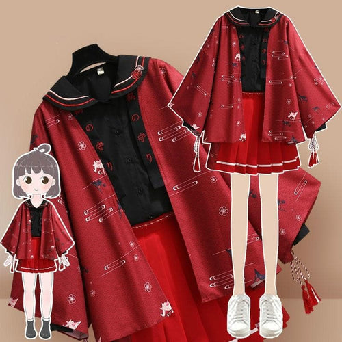 Improved Hanfu Elements Sweatshirt + Coat+ Short Skirt SS0980