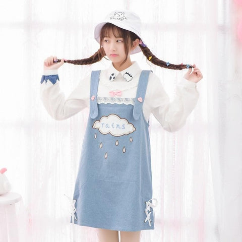 Mori Girl Applique Cloud Overalls Dresses
