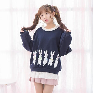Mori Girl Fake Two Piece Ruffles Patchwork Long Sleeve Sweatshirts SP178905