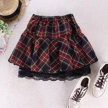 Load image into Gallery viewer, Fashion Plaid Pleated Lace Skirt S13167