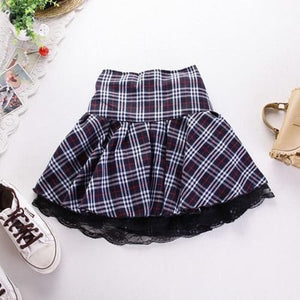 Fashion Plaid Pleated Lace Skirt S13167