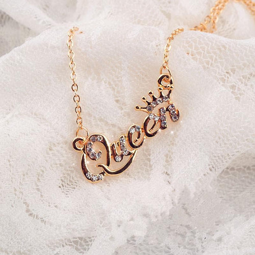 Luxury Gold-Color Queen Crown Chain Necklace Zircon Crystal Necklace SS0127