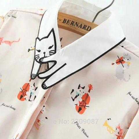 Neko Atsume  Cute Cat Collar Printing Blouse SP179486