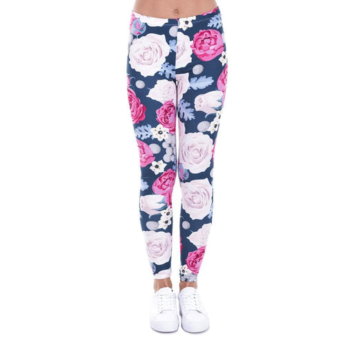 Wholesale Charming Wild Roses Printing Legging Casual Leggins Slim fit Leggings