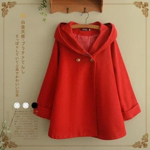Hooded Cartoon Batwing Sleeve Applique Coat Jacket S13006