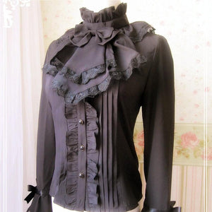 Lolita Blouse Empire Style Shirt Slim Lace Bow Royal Trumpet Flare Full Sleeve Shirts SP166970