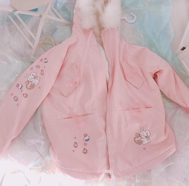 Pink Bunny Rabbit Print Cartoon Jackets S13043