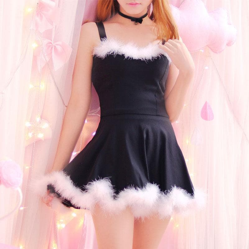 4 colors Kawaii Lovely Fur Hem Dance Party Dress Two Piece Set SP13182