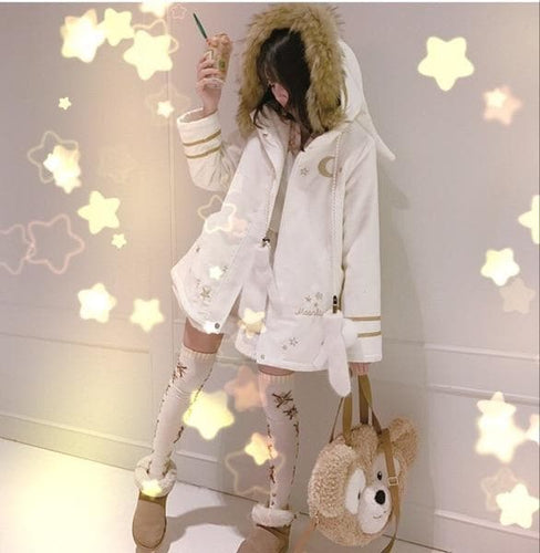 Star & Moon Galaxy Myth Theme Women's Winter Warm Coat