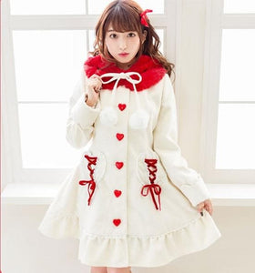 Woolen Long Coat Female Preppy Style Outfit