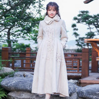 Vintage Retro Embroidery Faux Fur Collar Woolen Maxi Long Coat SP13266