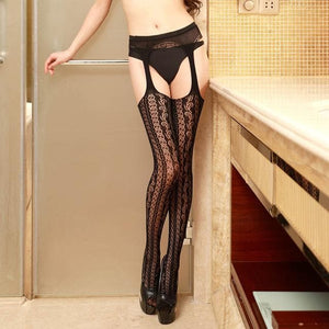 Women Sexy Lingerie Stripe Elastic Stockings Transparent Black Fishnet Stocking Thigh SP14575