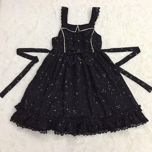 Lolita Sweet Black Starry Sky Print dress SY13171