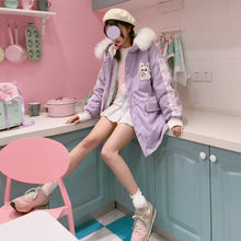 Load image into Gallery viewer, Kawaii Rabbit Bunny Sweet Pink & Lavendar Cute Parka Coat SP13172