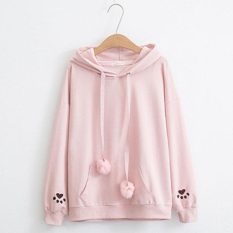 Cat's paw Embroidery On Sleeve Cute Hoodies Sweatshirts S12970