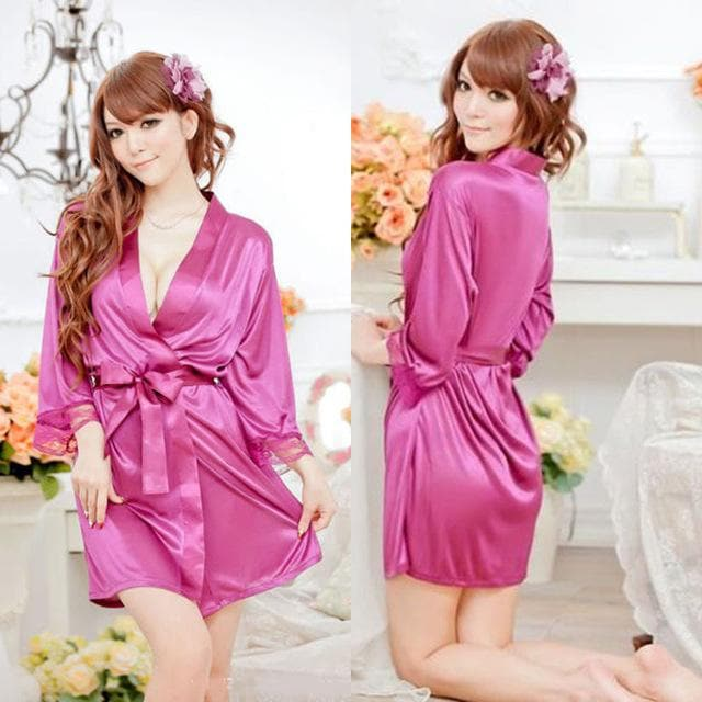 3 Colors Satin Lace Sleepwear Robe Night Gown Bathrobes Lingerie Set SP1812389