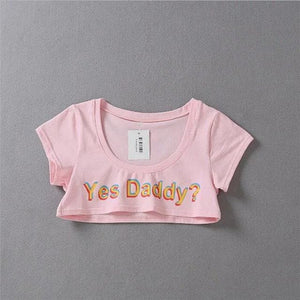 3D Yes Daddy Printed Crop Top S12707