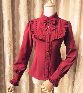 5 Colors Lantern sleeve Solid Color Accordion Lolita Shirt SP13184