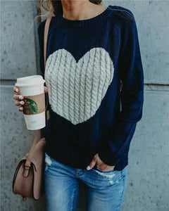 4 Colors Heart Cute Long Sleeve Pullover Knitting jumper S12998