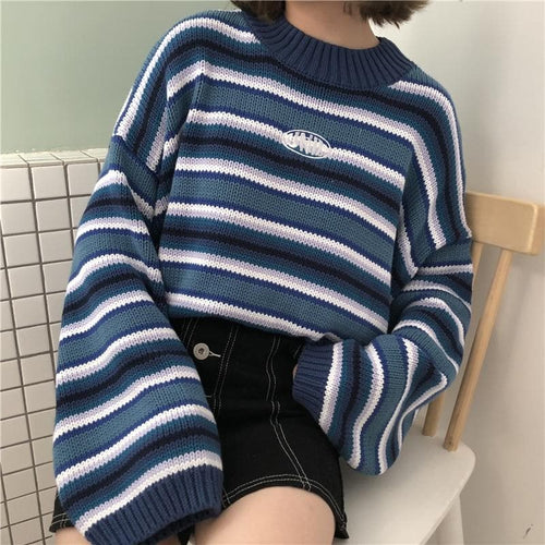 Fashion Loose Wild Striped Student Sweater SP14391