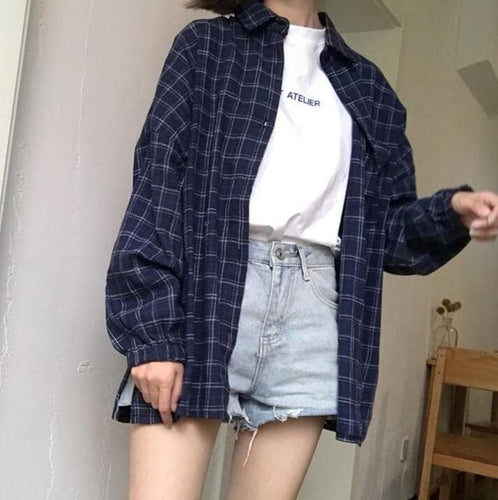 Blue/Red/Yellow Retro Chic Pocket Split Plaid Shirt