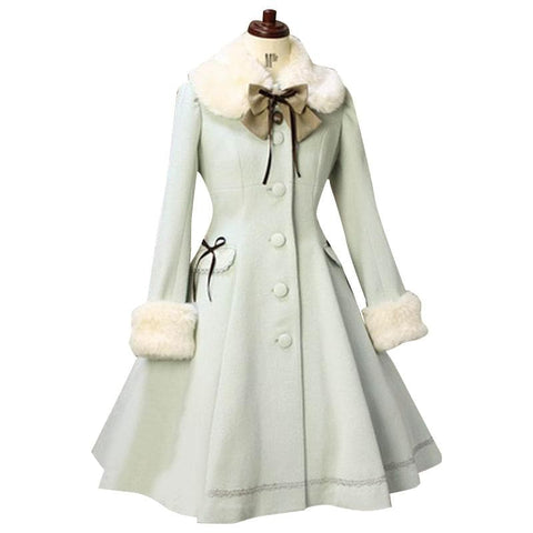 Lolita Sweet Fur Collared Daily Single-breasted Women's Long Coat Custom SP13185