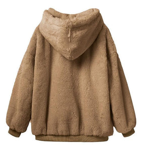 Winter Warm Hooded Tops Loose Soft Cute Pullover SY13169