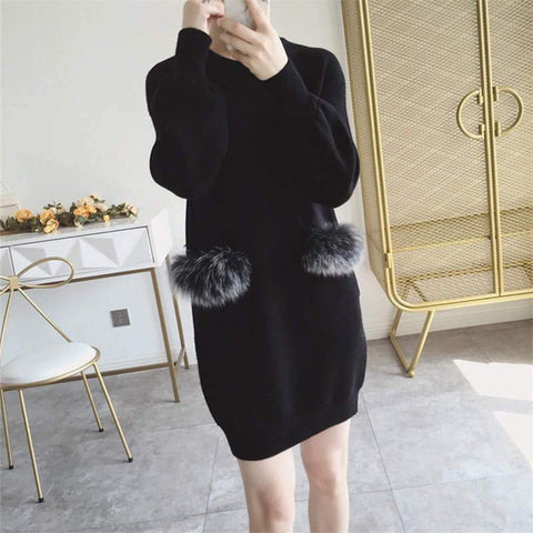 Faux Fur Pocket Design Knitted Sweater Dress
