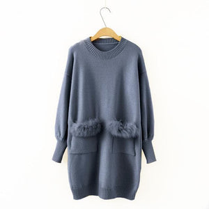 Faux Fur Pocket Design Knitted Sweater Dress SP14074