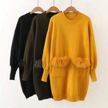 Load image into Gallery viewer, Faux Fur Pocket Design Knitted Sweater Dress SP14074