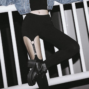 Gothic Hollow Out Leather Strap Rivet Leggings Pants SP051