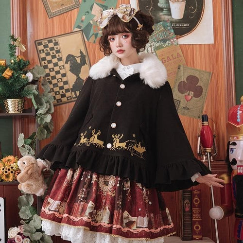 Free Shipping Sweet Warm Winter Lolita Cape Coat Mi-lu Embroidered Women's Coat SP13183