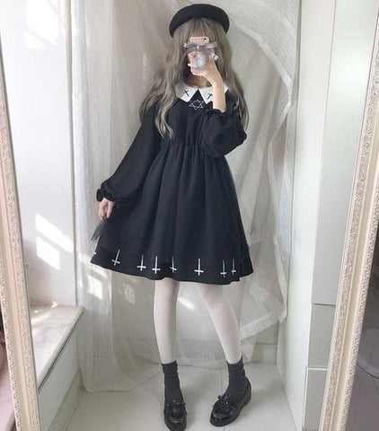 Cute Girls Gothic Lolita Cross Hexagon Spring Long Sleeve Dress S13161