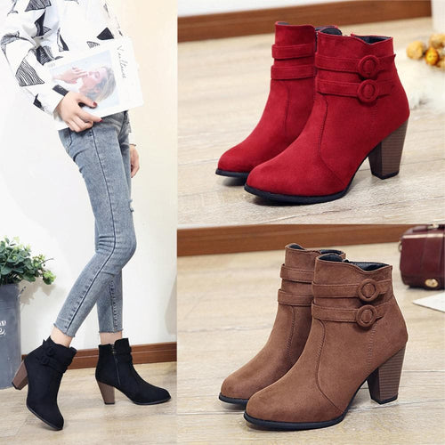 Black/Brown/Red Elegants Velvet High Heels Boots SP13340