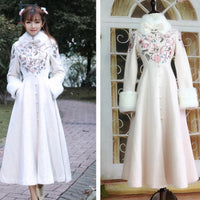 Vintage Embroidered Min Guo Inspiration Woolen Dress Coat SP13262
