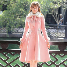 Load image into Gallery viewer, Pink Vintage Retro Sweet Embroidery Faux Fur Collar Woolen Maxi Dress Coat SP13264