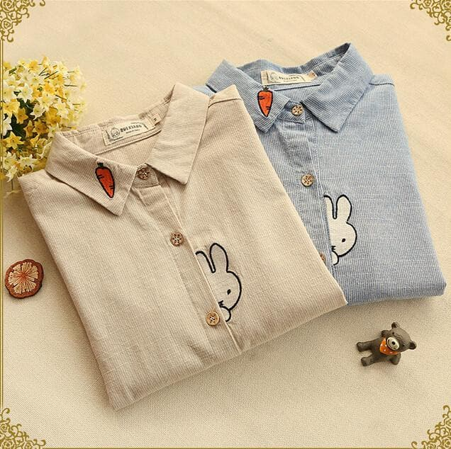 Beige/Blue Rabbit Mori Girl Embroidery Striped Turn-down Collar Long sleeve Blouse Shirt SP168317