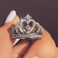 Fashion Luxury Silver Zirconia Crown Ring