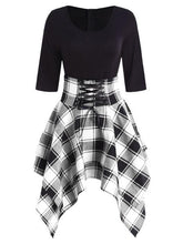 Load image into Gallery viewer, Gothic Half Sleeves Irregular Plaid Dress SP13861