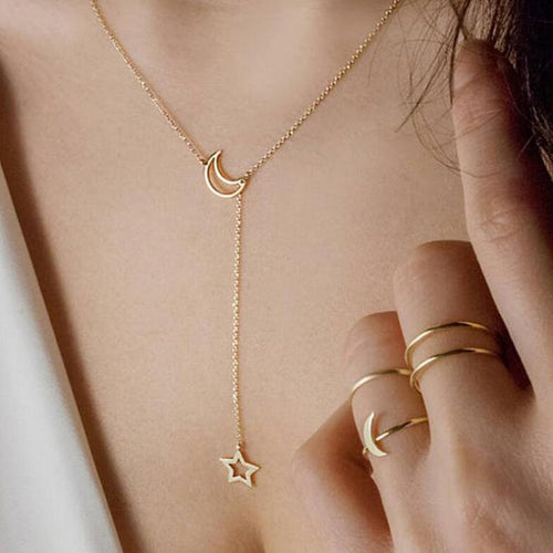 Gold Star Moon Chains Necklace SP14610