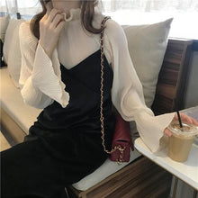 Load image into Gallery viewer, Solid Color Chiffon Shirt+V neck Sleeveless Dress SP14332 - SpreePicky FreeShipping