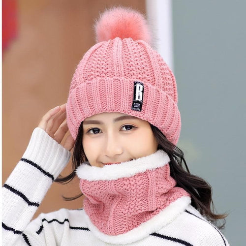 2 in 1 set Pinky Colorful Winter Knitted Scarf + Beanies Hats SS074