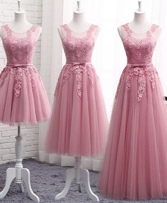 Pink Round Neck Lace Tulle Prom Dress, Lace Evening Dresses - DelaFur Wholesale